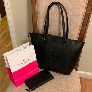 Kate Spade Leather Tote and Lg Wallet Sienne Logo